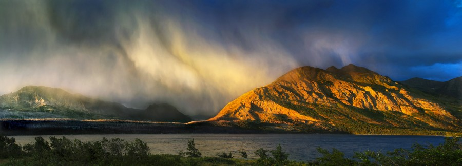 24 August 2012: Snow Squall over Red Eagle Mountain in Glacier National Park, MT