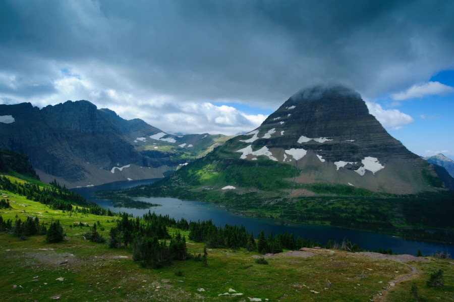 Morning view of Hidden Lake and Bearhat Mountain in Glacier National Park, MT