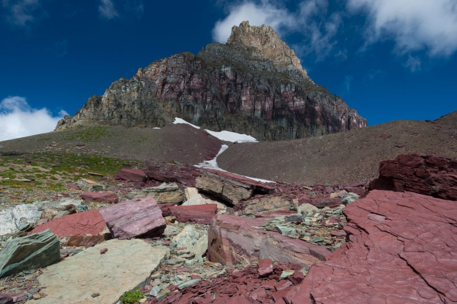 View of Mt Clements from Hidden Lake Trail in Glacier National Park, MT