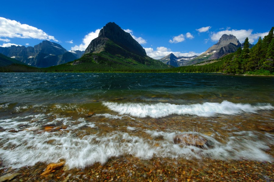 Waves at Swiftcurrent Lake in Glacier National Park, MT