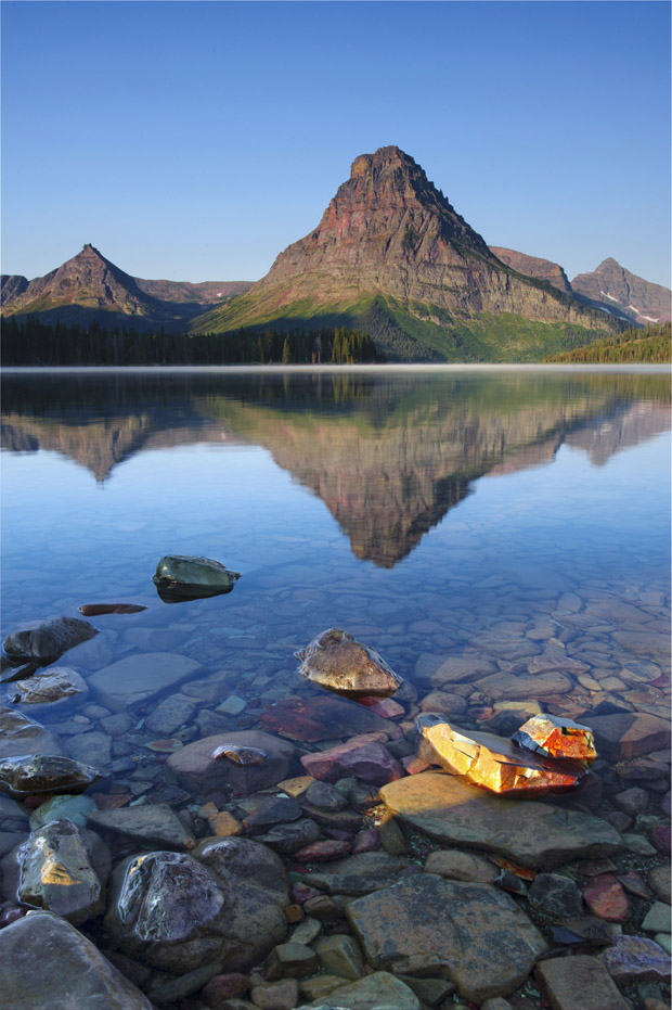 Sinopah Mtn Reflects in Two Medicine Lake at Sunrise in Glacier National Park, MT