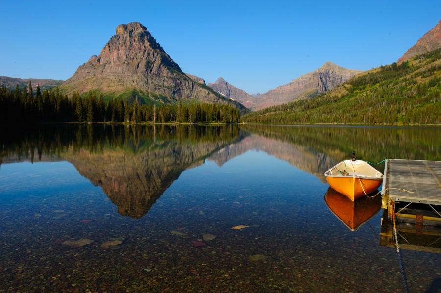 Canoe Docked at Two Medicine Lake in Glacier National Park, MT