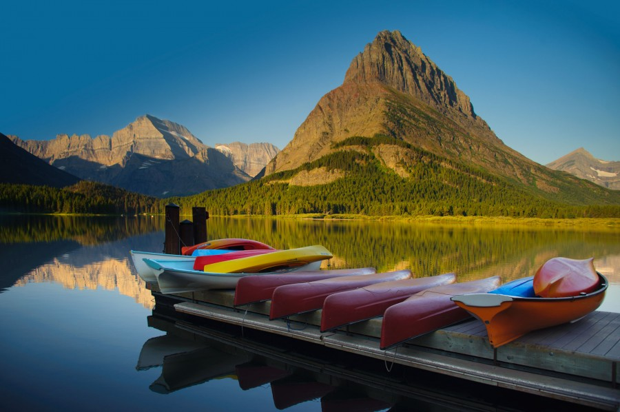 Canoes at Swiftcurrent Lake in Glacier National Park, MT