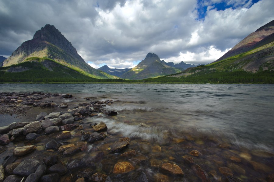 Swiftcurrent Lake during the morning in Glacier National Park, MT