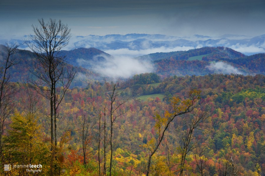 October 7, 2012: West Virginia autumn with morning fog rising