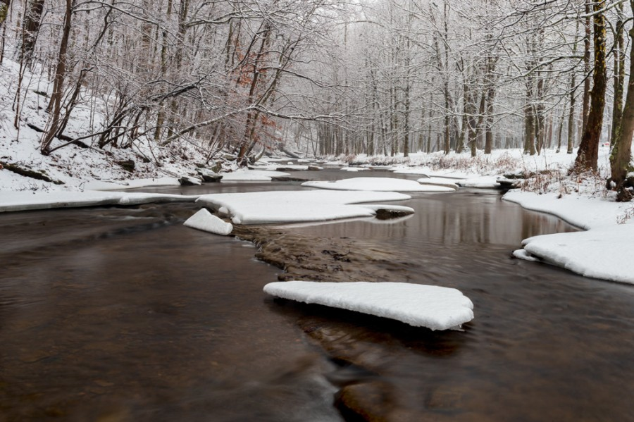 26 January 2015: Winter at Mingo Creek State Park in Pennsylvania.
