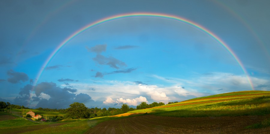 6 July 2015: Rainbow Over the Frobe Farm in McMurray, PA.
